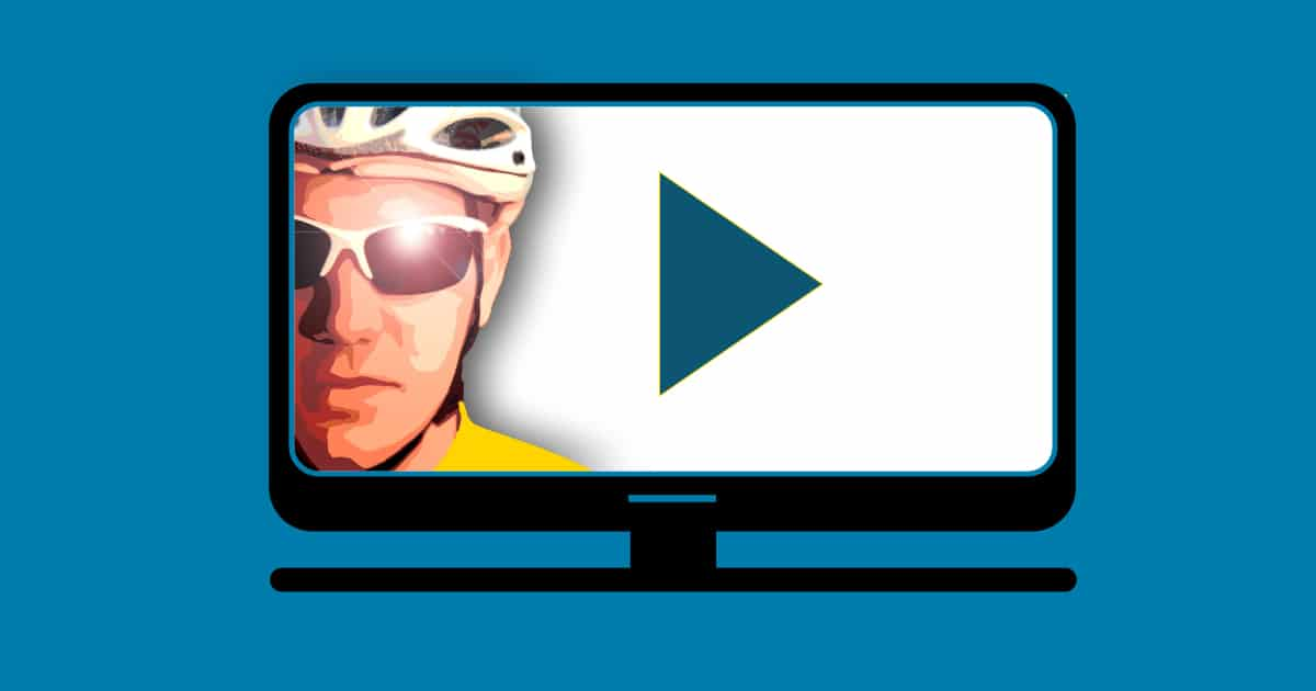 Graphic showing illustration of TV screen with the image of a cyclist and a 'play' button